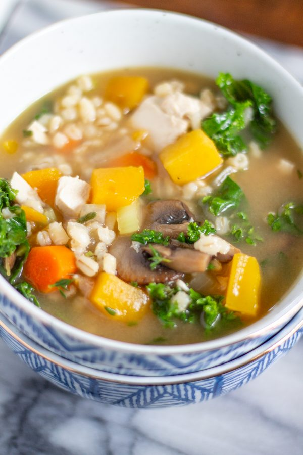 Butternut Squash and Barley Chicken Soup | My recipe for Chicken Soup with Butternut Squash, Barley, and Kale brings together fall flavors in a healthy and hearty soup that your family is sure to love.