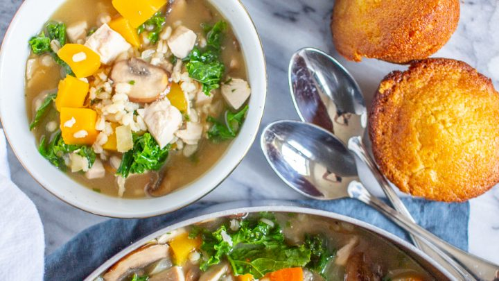 Chicken Soup with Butternut Squash, Barley, and Kale