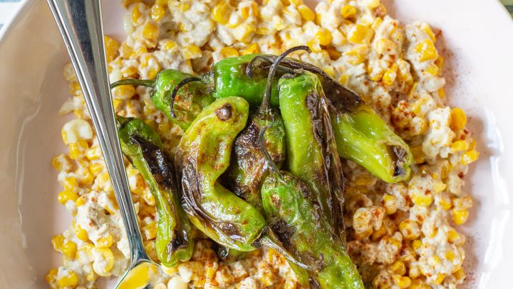 Creamy Parmesan Lime Corn with Shishito Peppers
