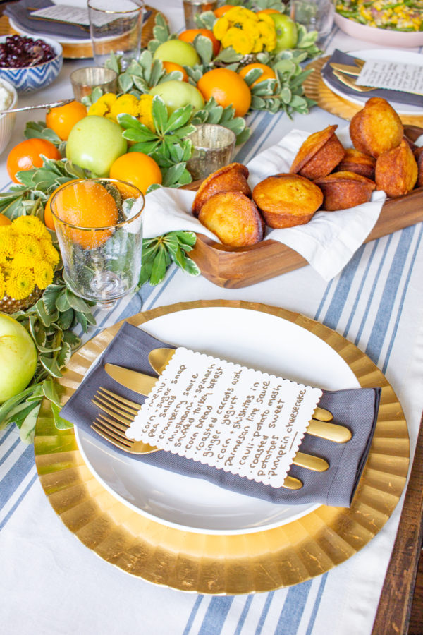 Fresh Fruit Table Setting for Thanksgiving   Learn how to combine greens with fresh fruit to create a festive Thanksgiving tablescape!