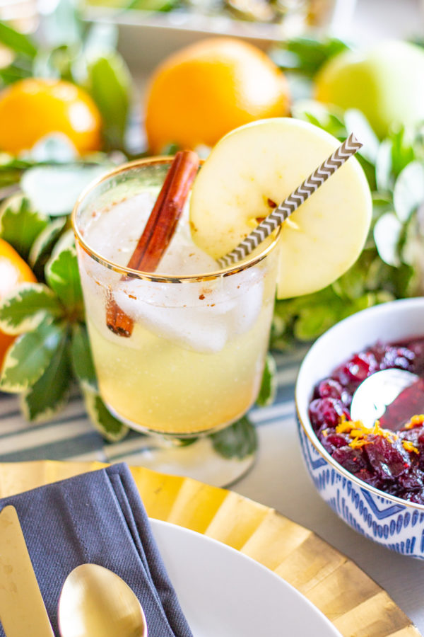 Apple Moscow Mule Mocktail | This mocktail is a drink to serve at Thanksgiving or any fall get together. You can serve it as a mocktail, or you can easily turn it into a cocktail by adding some vodka.