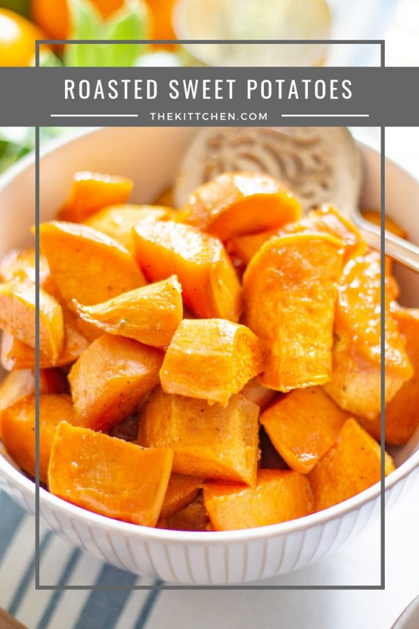 Roasted Sweet Potatoes | This easy recipe for Roasted Sweet Potatoes emphasizes the natural sweetness of sweet potatoes without adding marshmallows. It's a recipe fitting for #Thanksgiving, but healthy enough to enjoy year-round.