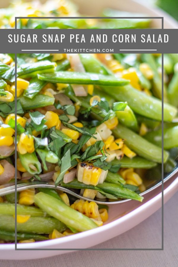 Sugar Snap Pea and Corn Salad | This Sugar Snap Pea and Corn Salad with caramelized shallots and a citrus yogurt dressing is an untraditional addition to #Thanksgiving dinner that my family loves.