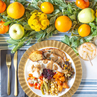 Thanksgiving Table Setting with Fresh Fruit