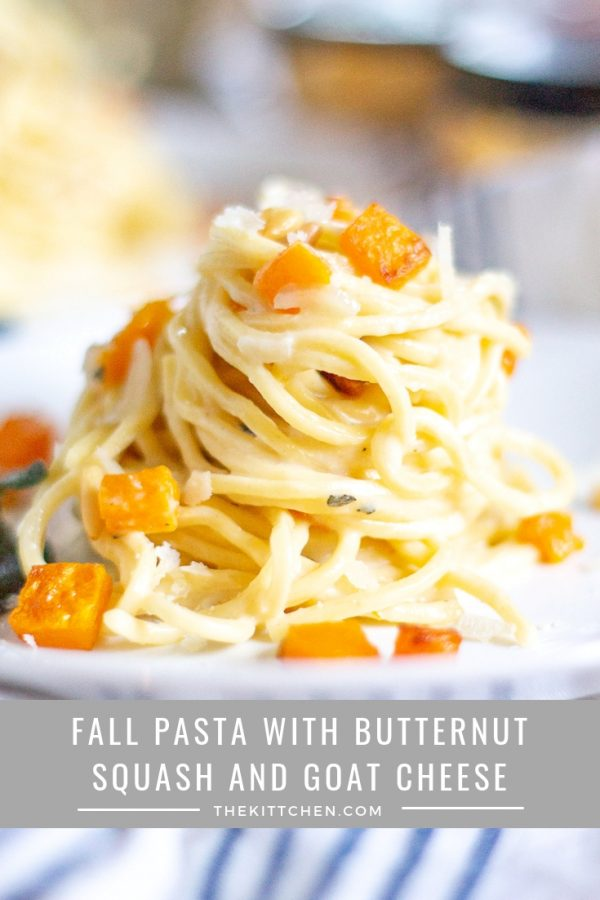 The Best Fall Pasta Recipe | This fall pasta is an ode to fall flavors and one of my favorite flavor combinations: goat cheese, sage, and butternut squash. It's quick enough to be a weeknight meal, and it works as a main dish or a side.