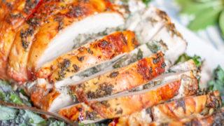 Mushroom Spinach Stuffed Turkey Breast