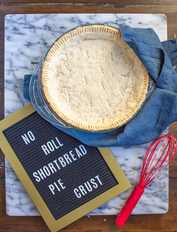 No Roll Pie Crust | This no roll shortbread pie crust recipe is the easiest way to make a pie crust from scratch! #pie #piecrust