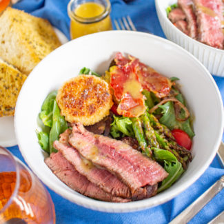 Steak and Fried Goat Cheese Salad