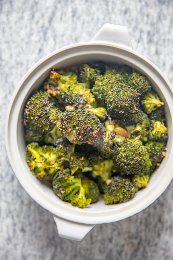 Miso Garlic Roasted Broccoli | The rich umami flavor of miso adds so much to simple roasted broccoli. Miso Garlic Roasted Broccoli has a balance of buttery, salty, and garlic flavors.