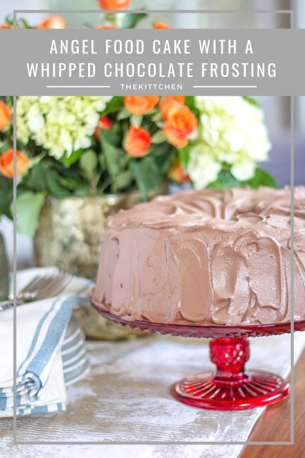 Angel Food Cake with Whipped Chocolate Frosting | This Angel Food Cake with Whipped Chocolate Frosting is light as a cloud. The frosting is made with freshly whipped cream and plenty of cocoa for a rich chocolate taste. This is a simple recipe my family has been making for decades. #cake #dessert