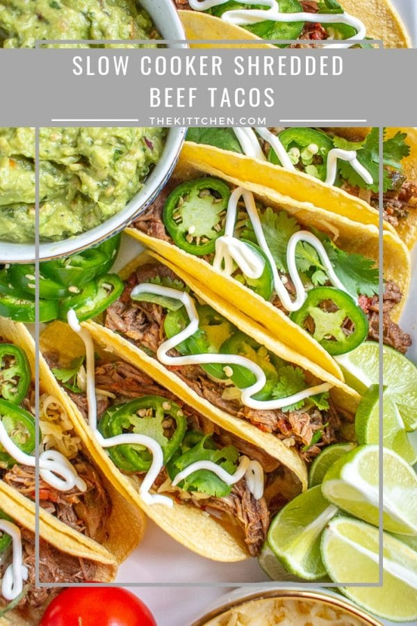 Slow Cooker Shredded Beef Tacos   Slow cooker shredded beef tacos are made with corn tortillas filled with tender spicy shredded beef and topped with cheese, jalapenos, cilantro, and sour cream. This is a zero fuss meal that can feed the whole family with only minutes of active preparation time. #tacos #beef