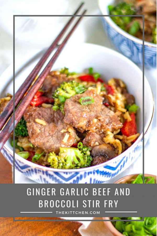 Ginger Garlic Beef and Broccoli Stir Fry | This quick and easy meal brings together tender slices of steak, broccoli, red bell pepper, mushrooms, scallions, and rice in a sweet, spicy, and salty ginger garlic sauce.