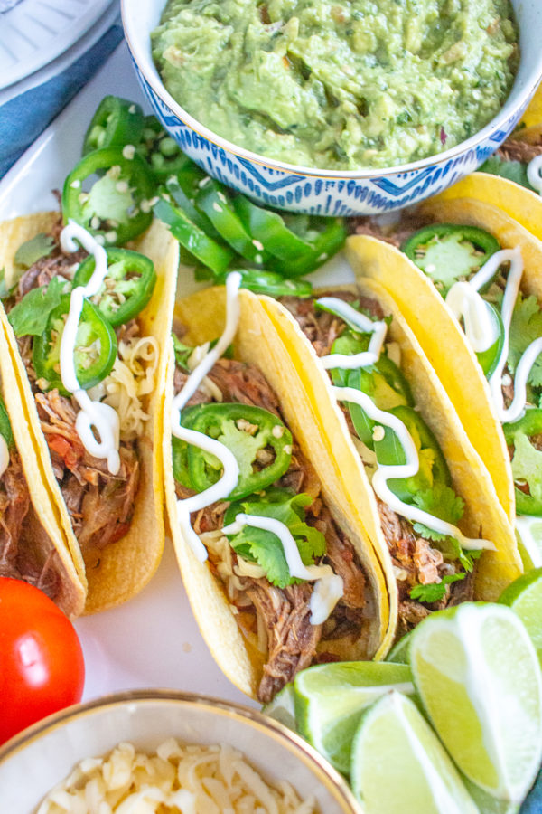 To bring my corn field and cattle farm experiences together in a recipe, I made these slow cooker Shredded Beef Tacos, and served them in corn tortillas.