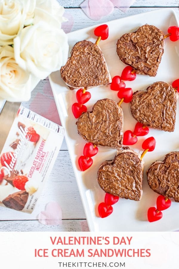 Valentine's Day Ice Cream Sandwiches | These ice cream sandwiches made with Hudsonville's Chocolate Raspberry Indulgence Ice Cream and boxed brownie mix are a perfect Valentine's Day Dessert. #HudsonvilleHappy # HudsonvilleIceCream #ad