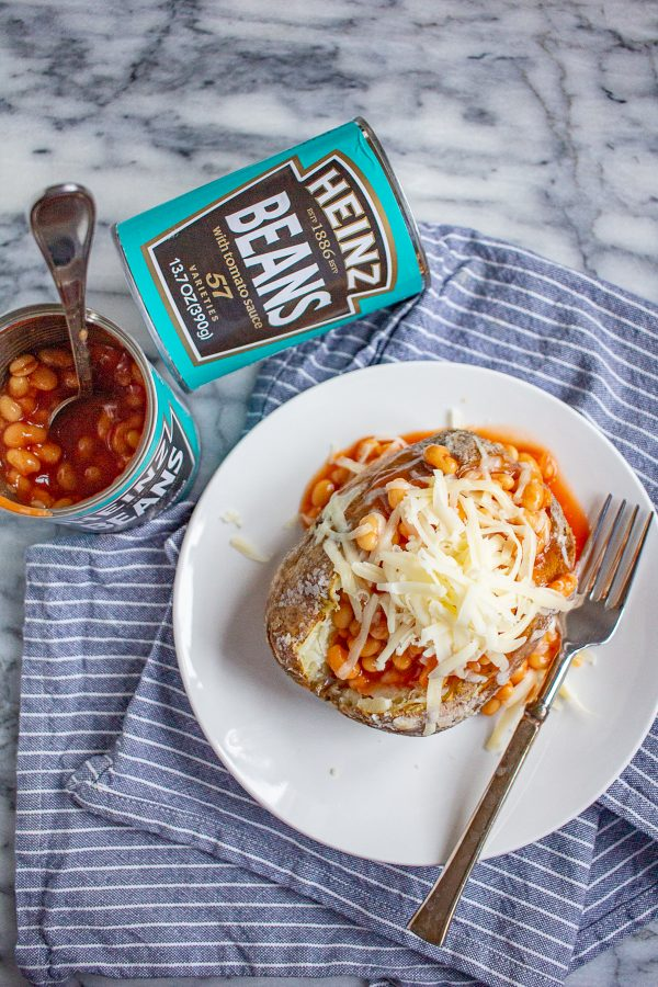 Jacket Potatoes with Beans | This classic British meal is an easy to prepare dinner.