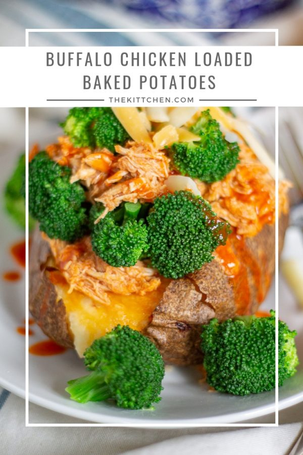 Buffalo Chicken Loaded Baked Potato Recipe | Buffalo chicken loaded baked potatoes are made with cheesy twice baked potatoes with crisp skins that are topped with shredded buffalo chicken and broccoli.