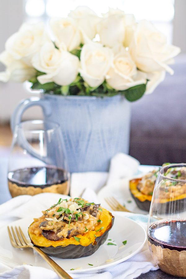 How to make Risotto Stuffed Squash | Risotto stuffed Squash is a hearty vegetarian meal made with roasted acorn squash filled with cheesy risotto.