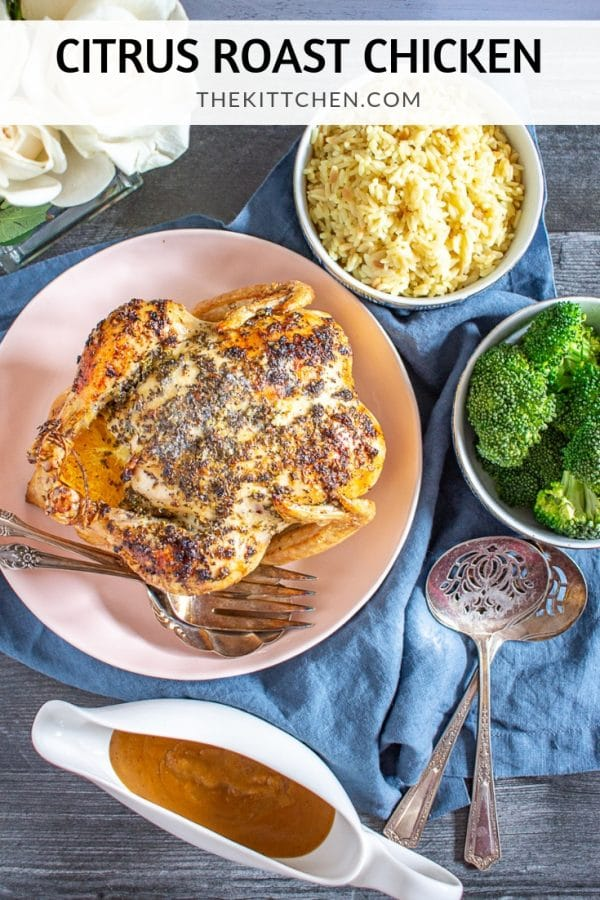 Citrus Roast Chicken Recipe | This easy citrus roast chicken recipe is bursting with flavor. The chicken is seasoned with lemon, orange, garlic, oregano, and basil giving the meal fresh flavors, and the pan drippings make a delicious gravy!