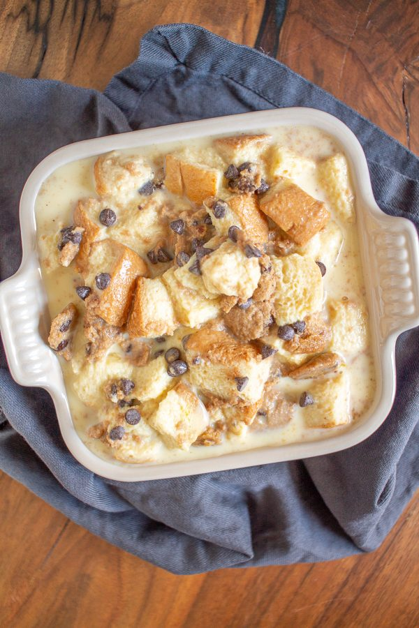 Chocolate Chip Cookie Bread Pudding combines custardy bread pudding and chocolate chip cookies. It tastes like a combination of cake, pudding, and chocolate chip cookies.