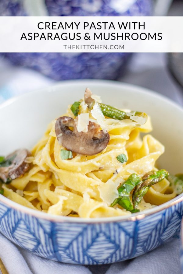 Creamy Pasta with Asparagus and Mushrooms is a meal that can be made in just 20 minutes. Fresh pasta is coated in a light parmesan and mascarpone sauce and tossed with sauteed mushrooms and al dente asparagus. Serve it as a complete meal or as a side dish.