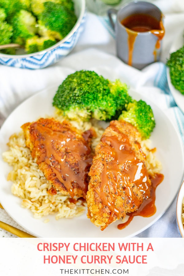 Crispy Chicken with a Honey Curry Sauce | Sweet, spicy, and salty flavors come together in this recipe for chicken with a cracker crust topped with a honey curry sauce.
