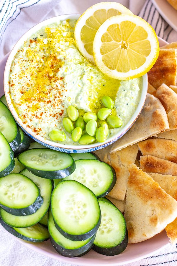 Edamame Hummus | A quick and easy recipe for hummus made with edamame and lemon.