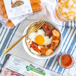 Grits Breakfast Bowls with True Story Foods Bacon and Sausage