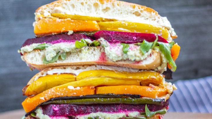 Rainbow Roasted Vegetable Sandwich