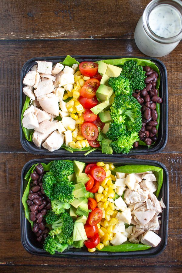 Southwest Cobb Salad | Meal prep salads with chicken, corn, tomatoes, avocado, broccoli, and beans