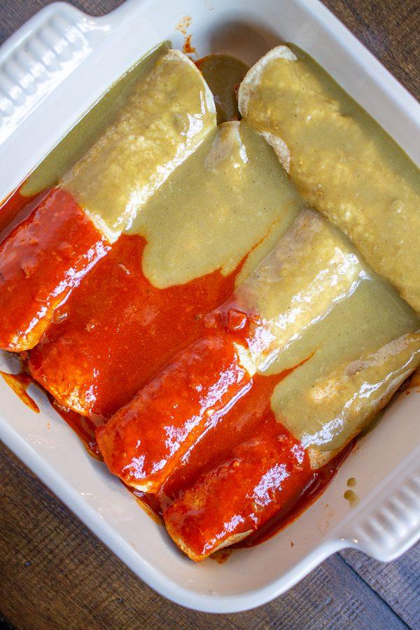 Brisket Enchiladas with Christmas chile sauce