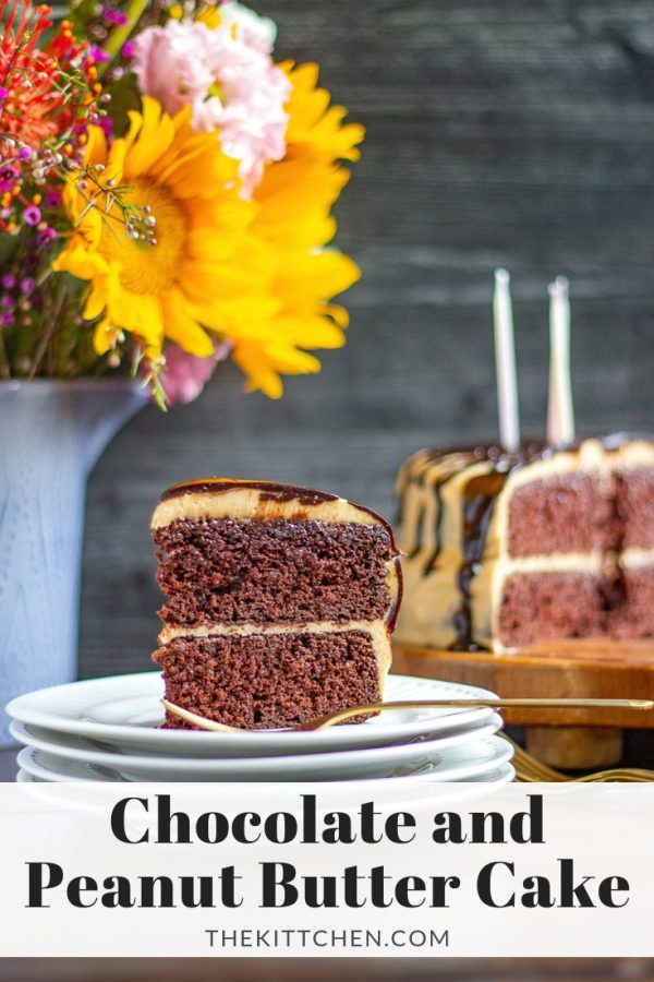 Chocolate Cake with Peanut Butter Frosting and Chocolate Ganache