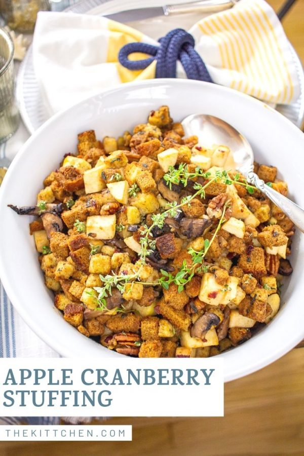 Apple Cranberry Stuffing - It's a bold combination of fall flavors, and a fitting addition to a Thanksgiving menu.