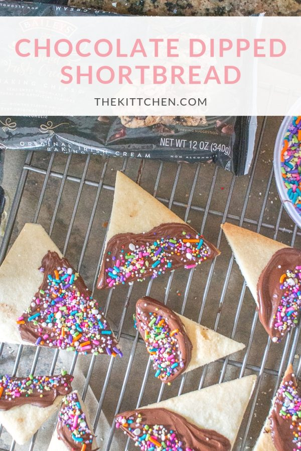 Chocolate Dipped Shortbread | Homemade shortbread dipped in chocolate and decorated with sprinkles is a fun and festive addition to a party menu
