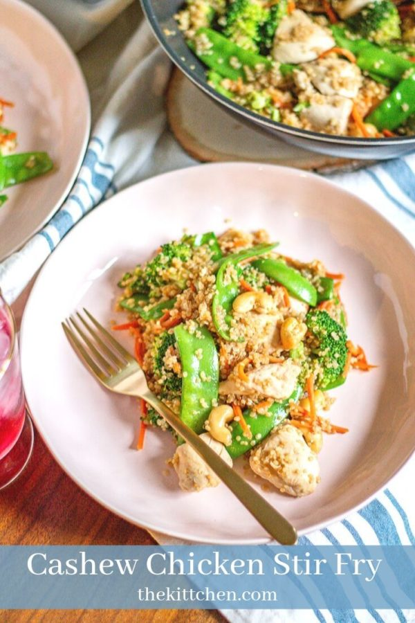 Cashew Chicken Quinoa Stir Fry is a healthy meal that comes together in just 25 minutes. It is loaded with vegetables, chunks of chicken, and fluffy quinoa it's a complete meal.