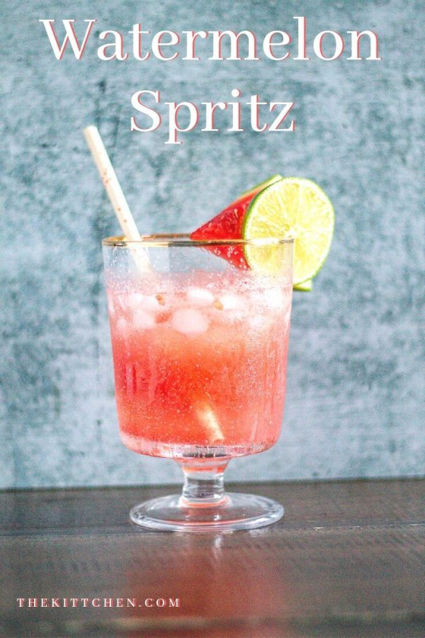 A watermelon spritz is a cocktail made with fresh watermelon juice, limoncello, and prosecco. It's fruity and sweet with a punch of citrus.