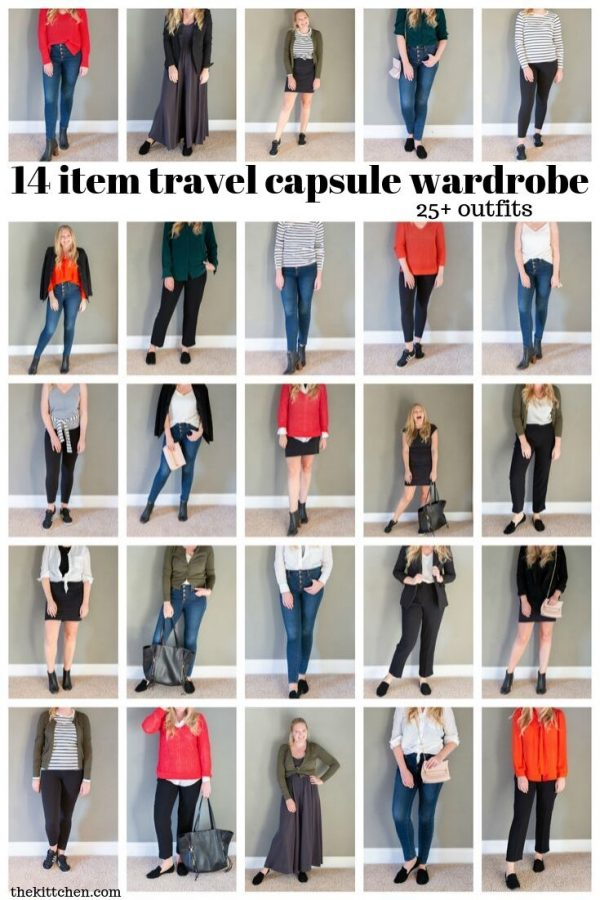 14 Item Travel Capsule Wardrobe | Fit 25+ outfits in one carry on!