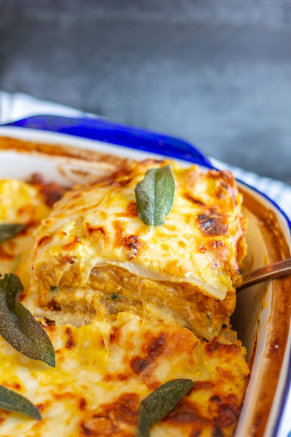 Butternut Squash Lasagna | A lasagna with pureed butternut squash, ricotta, and mozzarella