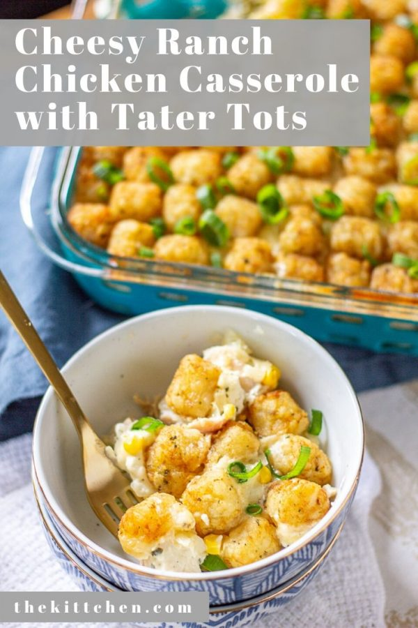 Cheesy Ranch Chicken Casserole with Tater Tots Recipe | This Cheesy Ranch Chicken Casserole with Tater Tots is made with diced rotisserie chicken, corn, broccoli, and onion in a creamy cheesy ranch sauce topped with cheddar cheese and tater tots. It's a complete meal that can be prepared with 20 minutes of active preparation time and 30 minutes of cook time.