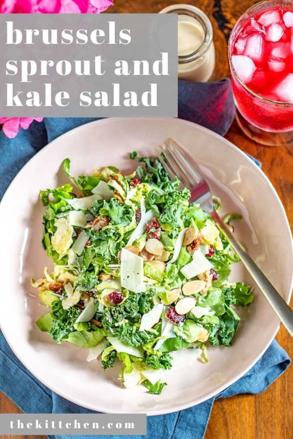 This Brussels Sprout and Kale Salad is made with shaved brussels sprouts, chopped kale, bacon, parmesan, toasted almonds, and a maple tahini dressing. It's one of those meals that is just perfect.
