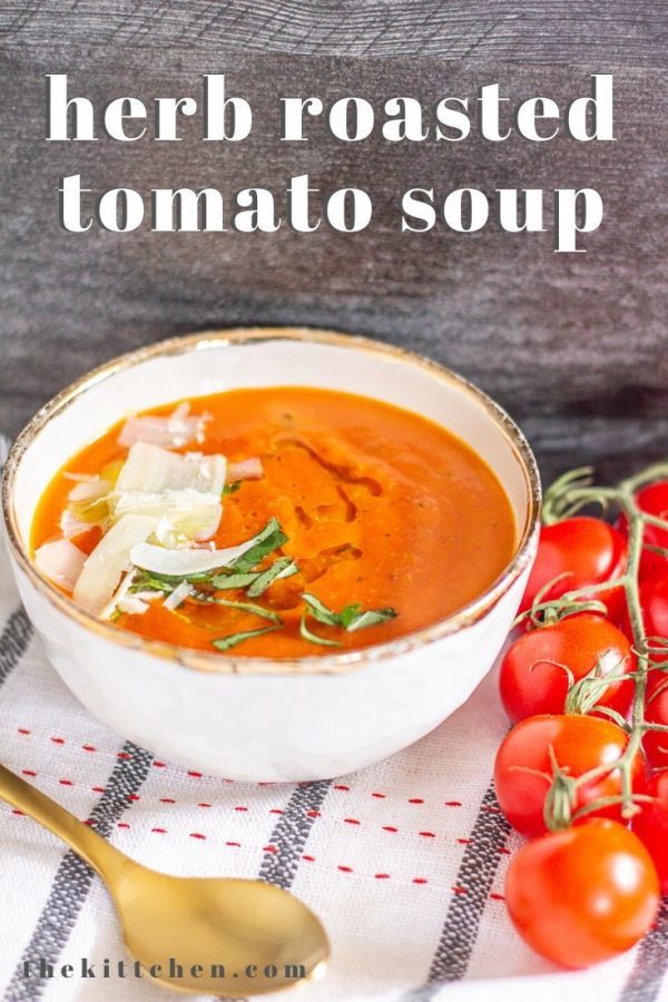 This Herb Roasted Tomato Soup is made with simple fresh ingredients: tomatoes, olive oil, herbs, garlic, and broth. If you use vegetable broth, the recipe is vegan.