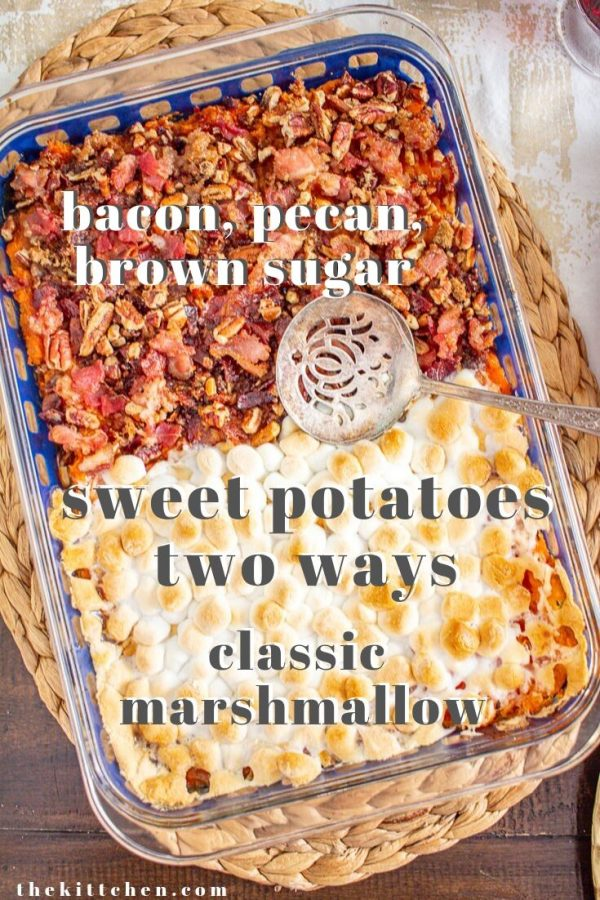 There are two types of families in America. There are families who put marshmallows on their sweet potatoes, and there are families who don't. I found a very easy way to make both groups happy: a sweet potato casserole topped with half marshmallows and half bacon, pecan, brown sugar crumble.