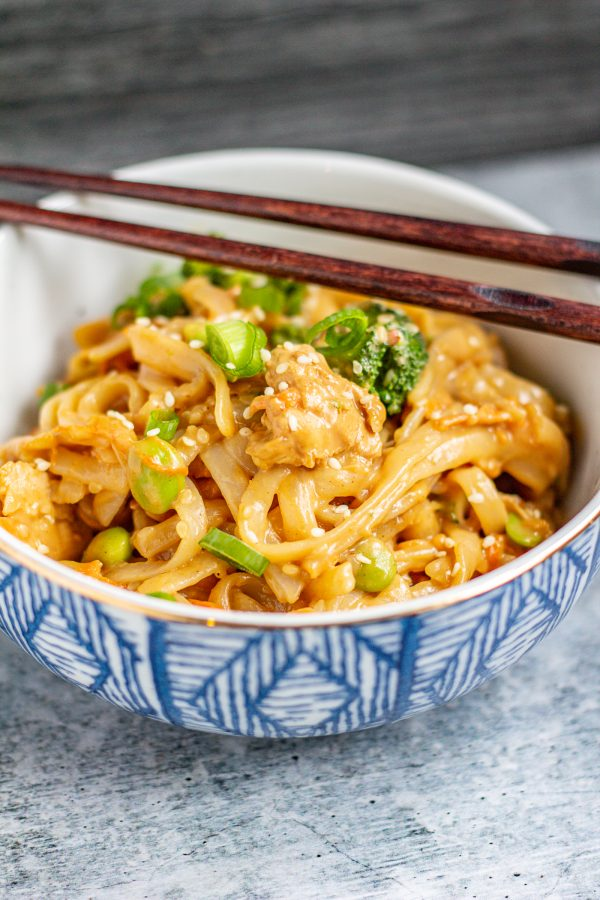 Sesame Peanut Noodles with Veggies and Chicken