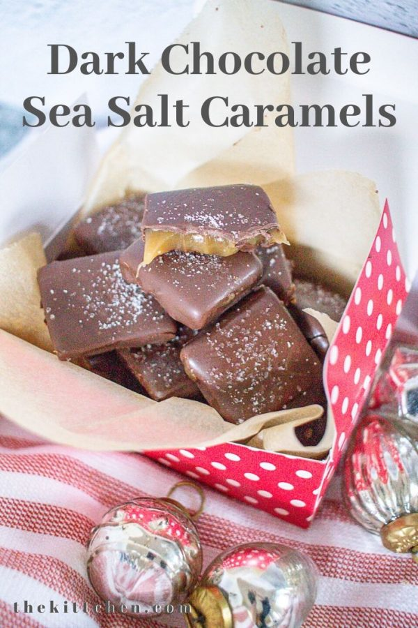 These caramels are surprisingly easy to make from scratch, and I love the idea of giving small boxes of caramels as a hostess gift or teachers gift.