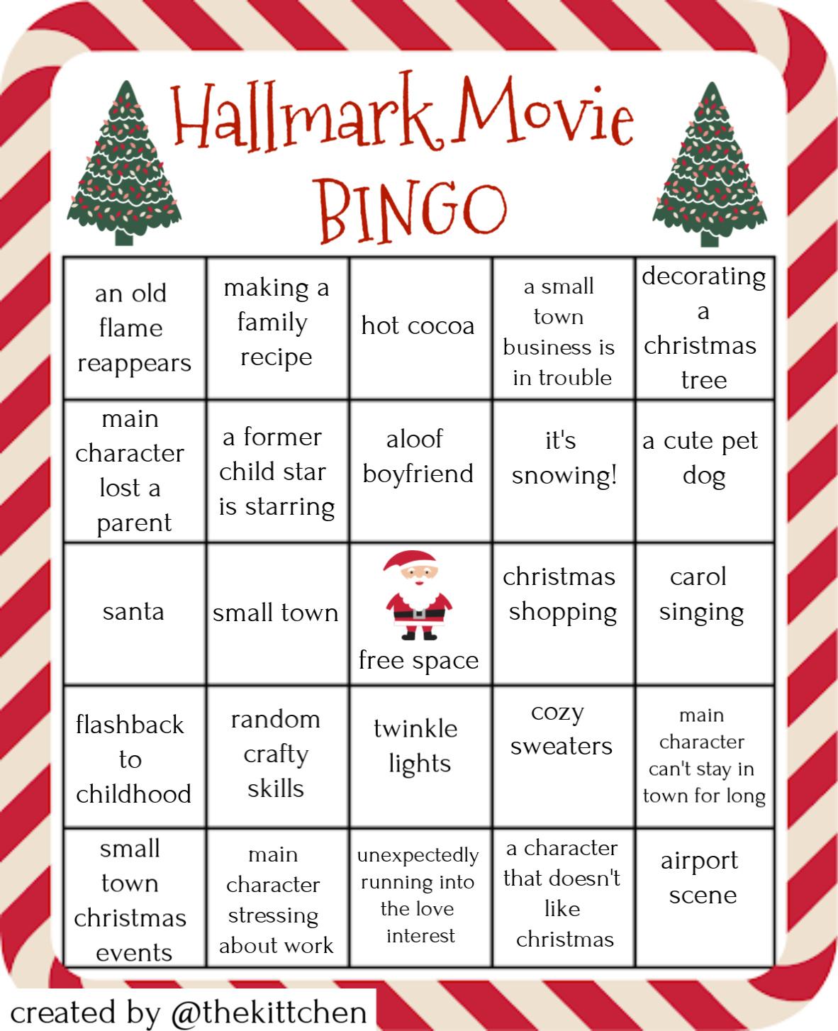 Hallmark Movie Bingo Cheesy Christmas Movie Bingo