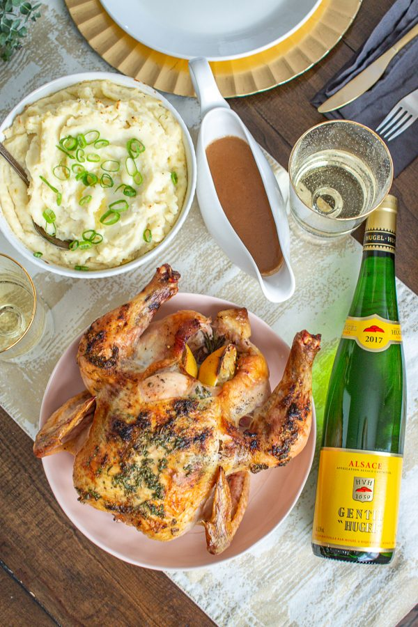 Roast Chicken and Mashed Potatoes paired with Gentil - this blended wine made of noble grapes is known for its full flavor and pairs beautifully with poultry.