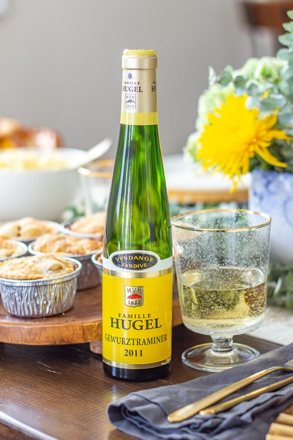Mini Apple Pies paired with Hugel Gewürztraminer Vendange Tardive - this late harvest sweet wine pairs especially well with apples.
