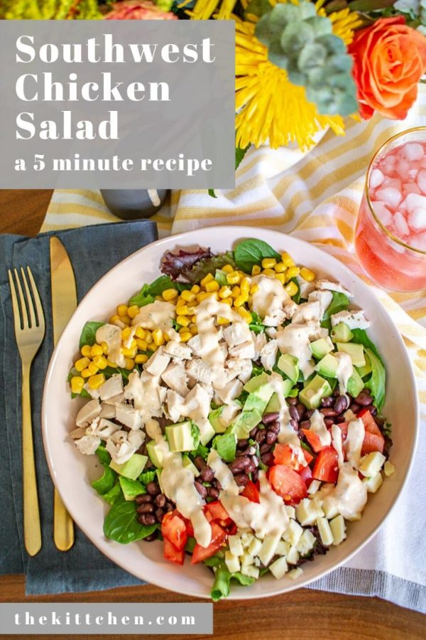 Southwest Chicken Salad Recipe | This 5 Minute Southwest Chicken Salad is a no-cook meal that I can't get enough of. Mixed greens are topped with diced chicken, avocado, corn, tomato, black beans, cheddar cheese, and a chipotle ranch dressing.