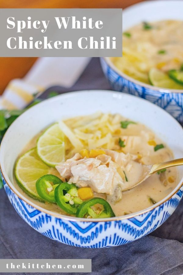 This Spicy White Chicken Chili is made with roasted poblano peppers, chunks of chicken, beans, and a blend of spices.
