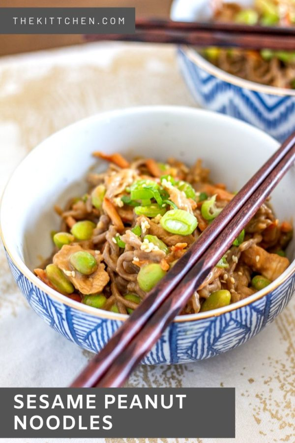 Sesame Peanut Noodles with Chicken is a lunch that is perfect for meal prepping and bringing to lunch. Soba noodles coated with a slightly spicy peanut sauce and topped with chicken, carrot, edamame, green onions, and sesame seeds to create a make-at-home version of one of my favorite take-out dishes.