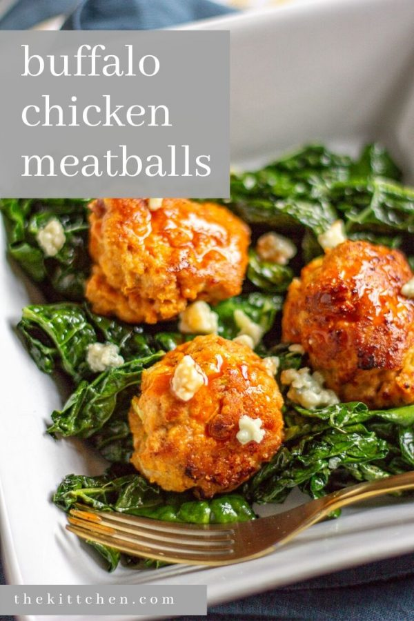 Buffalo Chicken Meatball Recipe - An easy 40 minute recipe for tender meatballs made with ground chicken, buffalo sauce, blue cheese, red onion, celery, and garlic.